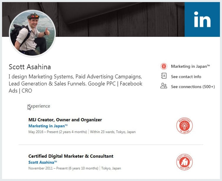 Scott Asahina About Page LinkedIn Profile Banner
